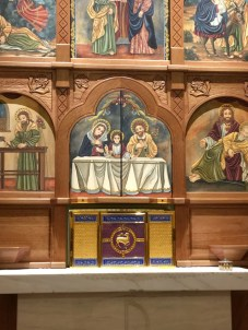 This beautiful tabernacle in the Blessed Sacrament Chapel was made by Granda Liturgical Arts.