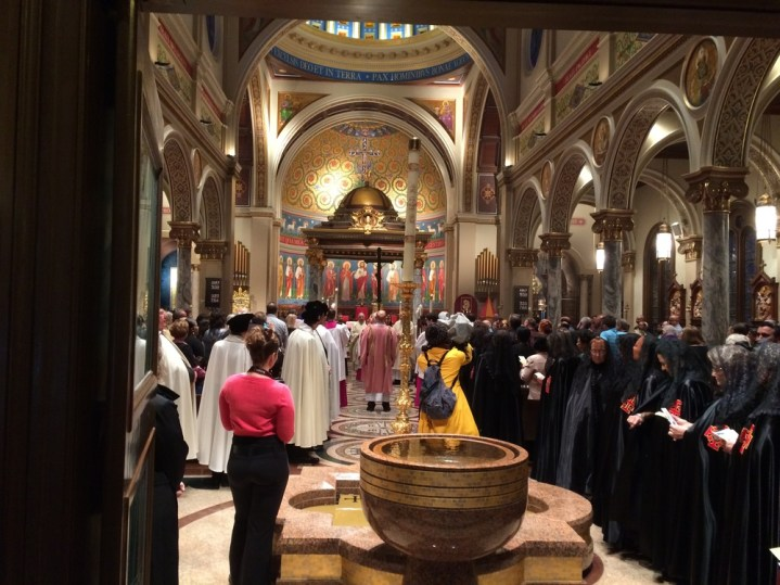 St. Anthony Cathedral Basilica (Beaumont, TX). View just inside entrance. Photo from parish website.