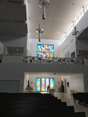 Rear wall with stained glass Ascension —Our Lady of Guadalupe Parish (Doral, FL). Photo by Patrick Murray.