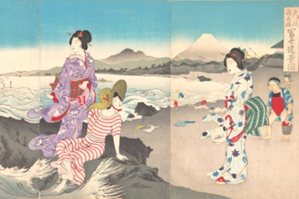 Swimming at Ōiso, Distant View of Mount Fuji (detail), Meiji period (1868–1912), 1893. Japan.