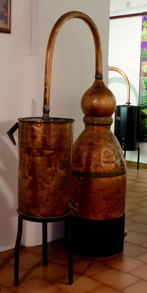 Old copper perfume distillation