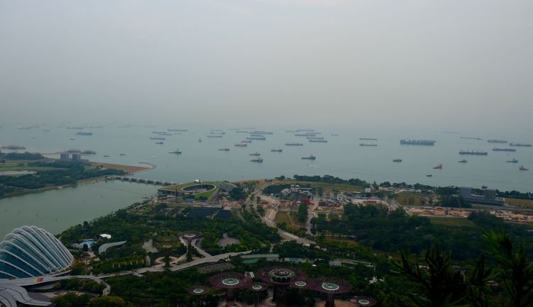 View to the Singapore Strait, 57 floors up