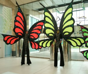 Butterfly Stilt walkers, entertainers