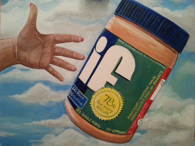 Image of hand and peanut butter jar in the air