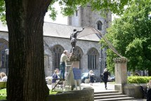 15/06/2017 Pic by: Penny Cross After five years in the making the sculpture by artist Rodney Munday has been placed on the pillars outside the Church of St Andrew . Pictured: Artist Rodney Munday makes the final adjustments to the sculpture Contact: Alun Hughes 07941720433 Reporter: Sarah Waddington