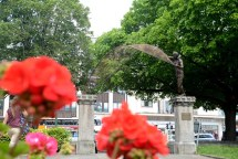 15/06/2017 Pic by: Penny Cross After five years in the making the sculpture by artist Rodney Munday has been placed on the pillars outside the Church of St Andrew . Contact: Alun Hughes 07941720433 Reporter: Sarah Waddington