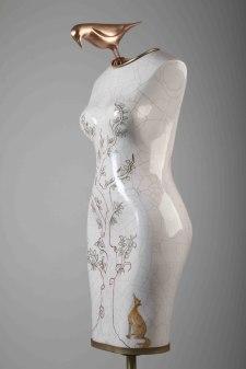 150 x 45 x 45 cm, Ceramic and brass, 2016
