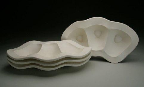 """slab-built porcelain, cone 6, 19 x 11 x 7,"""" 2009"""