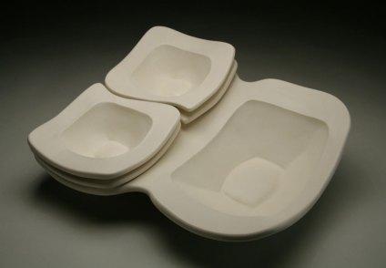 """slab-built porcelain, cone 6, 18 x 15 x 5,"""" 2009"""
