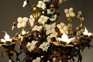 """porcelain and handmade glaze cone 6, Katrina rusted 19th century French chandelier, 30"""" x 24"""" x 24"""", 2007"""