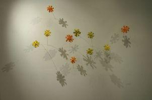 Autumn Pond #1, 2007, Ceramics, Copper wire, 200x50x130 cm.