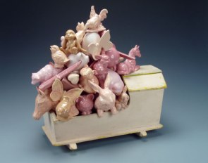 "18"" H x 17"" W x 11"" D, 2007, white earthenware, slipcast, glazed, vintage wooden toy cradle"