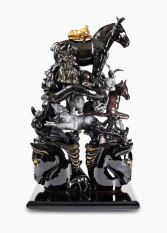 "16"" H x 10"" W x 6"", D, 2008, white earthenware, slipcast, glazed, vintage ceramic horse bookends"