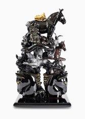 "16"" H x 10"" W x 6"", D, 2008, white earthenware, slipcast, glazed, vintage ceramic horse bookends"