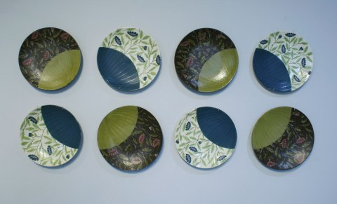 "wheel thrown, cone 6 porcelain and stoneware, 9"" x 1"" x 9"" each, 2012"