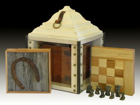 """22"""" x 22"""" x 16"""", porcelain, oak, pine, steel, found objects, 2006"""