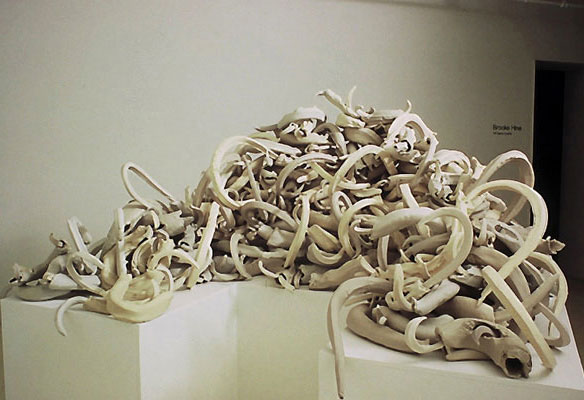 hand-built porcelain, 4 shades of white, size varies, The Anderson Gallery, Richmond, VA, installation
