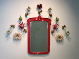 antique victorian mirror, fired lace, porcelain, glass doorknobs, variable dimensions, 2008