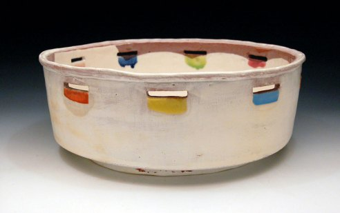 "earthenware, slips, glaze, 14"" x 14"" x 4.5"""