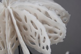 This is a detail of the perforated flanges of a Bone Series | Medusa piece that is made with very thin pieces of nearly translucent porcelain and high temperature wire. The forms are inspired by the structures of pulsating sea creatures, hence their namesake Medusas. It balances on its wire tips giving the piece slight hints of movement and energy.