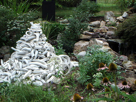 hand-built porcelain, 4 shades of white, size varies, Gallery in the Garden 9, Orwigsburg, PA