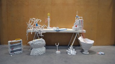 Facts & Opinions, 2012, 13' x 6' x 5', ceramic and mixed media