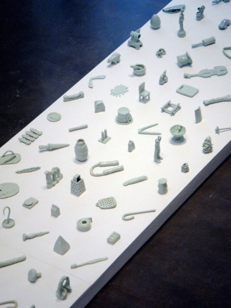 Democracy (detail), 2012, 20' x 4' x 1', 138 ceramic objects