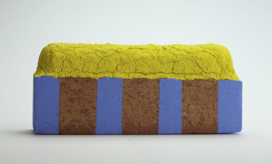 Raw brick altered, fired, underglaze
