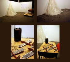 Instructional / Play, 2010, installed at FUNdamental Formative Arts, Grand Rapids, MI, ceramic, mixed media