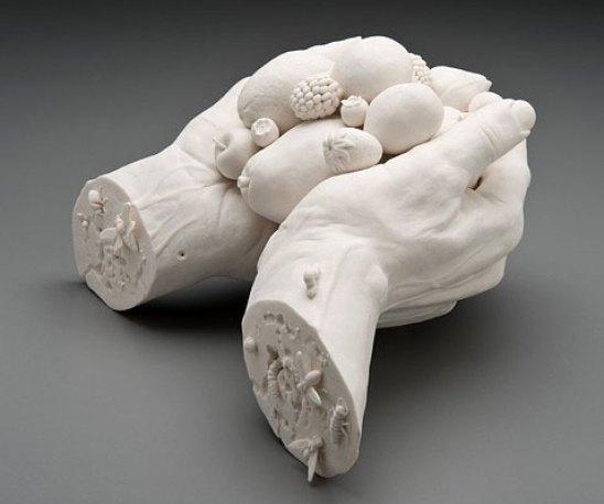 """9 ½""""x11""""x6"""", hand built porcelain, acrylic gel, 3/2008"""