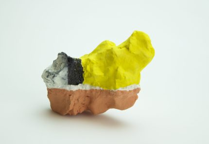 Fired ceramic, underglaze, paper additions