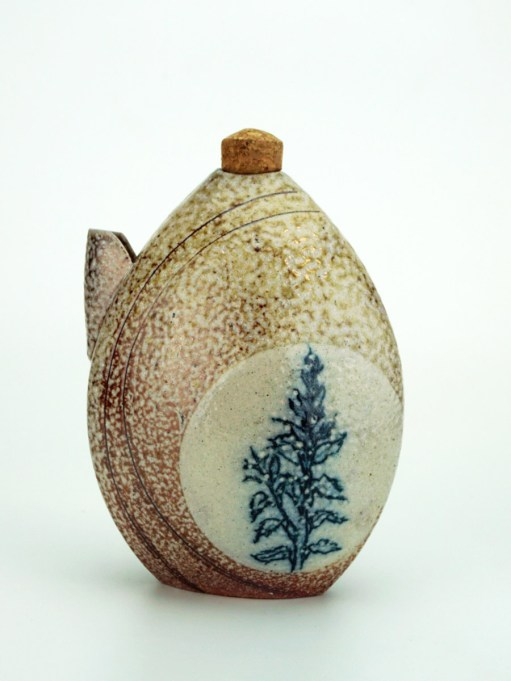 ^10 Wood Fired Stoneware, Slip, Underglaze Pencil, Glaze, Cork, 2018 Approx. 4x2x5 inches