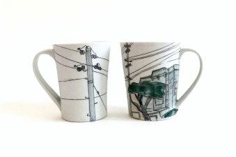 "Each mug 5""H x 4 ½""W x 3 ½""D"