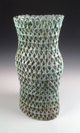 Stoneware, glaze, slips, oxides, Cone 6 Reduction, double wall, hand-built, 34h x 15w x 16d inches