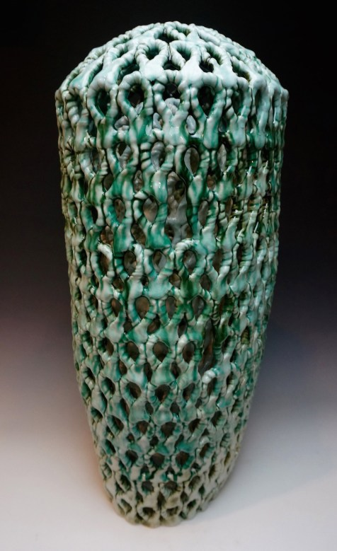 Stoneware, slips, glazes, oxides, Cone 6 Oxidation, double wall, hand-built, 23h x 13w x 12d inches