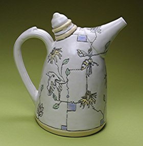 "Ann Ruel, ""Birds and Bees Bee Skep Teapot"""