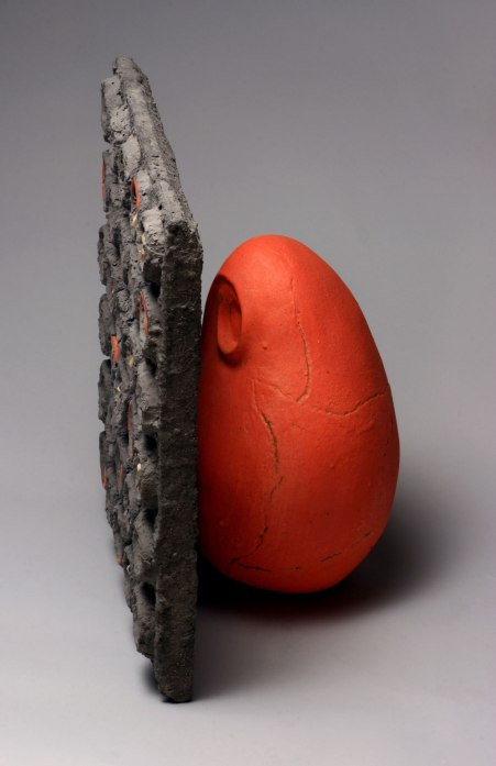 2014, Clay, lead glaze, cement, correspondences (ash and fragments)