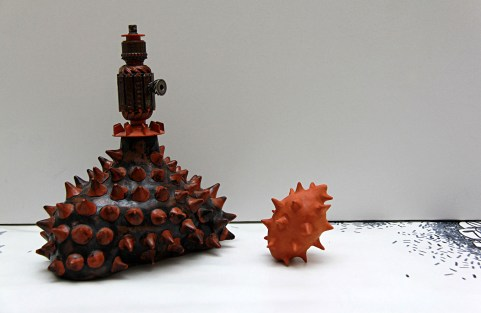 H26 W21, red clay, 950-1000 C, metal details, 2016