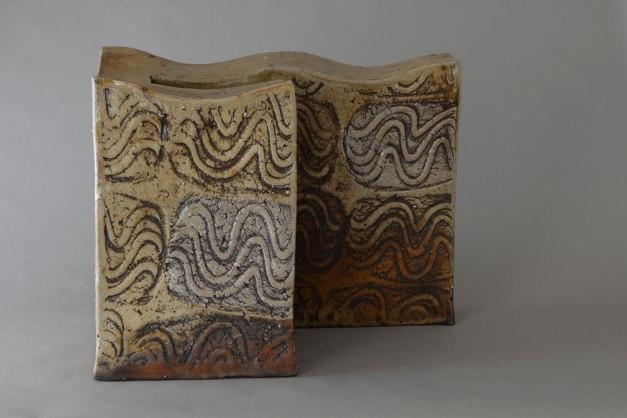 """16"""" X 19.5"""" X 10"""", woodfired saltglazed stoneware, 2014"""