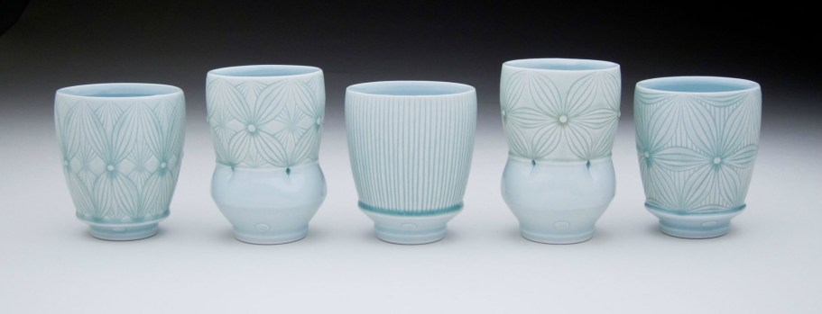 """Porcelain with carved pattern, 4.5H"""""""