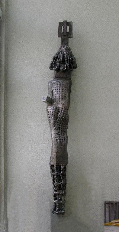 wall sculpture, 210x32x25 cm, handbuilding clay, 1170C, 2006