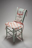 porcelain, wire, antique kitchen chair, h.36 x w.19 x d.15 inches, 2010