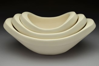 """hand-built porcelain, cone 6, 14 x 8 x 7,"""" 2013"""