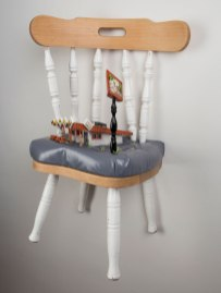 """2017. Ceramic, embroidery, beads, found chair, mixed media. 15""""x16""""x32"""""""