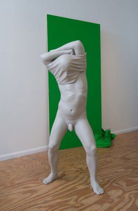"installation at Plug Projects (Kansas City, MO), painted ceramic and mixed media, standing male: 50"" tall"