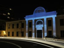 Between Here and There: Cape Town, mapped video projection on Cape Town Slave Museum, Cape Town, South Africa