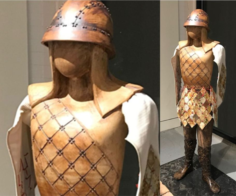 """This was intended to be two figures, but during the process, the wood kiln was destroyed making it impossible to finish either one, and have the product match (the torso of one, legs of another and arms were ruined in the accident); so a few adjustments were made, abstract arms were fashioned...making the combination of Homage to Misty Copeland and Self as Onna Bushi...a fitting """"chimera"""" for someone like myself who gave up professional ballet instruction for a career in clay. This piece combines techniques from the other two """"Homage"""" figures."""
