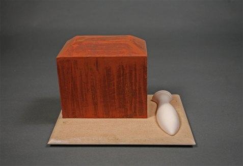 """wood, clay, glaze, 10"""" x 10"""" x 10"""""""