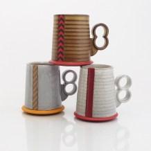 "Eric Van Eimeren, ""Striped Hovercraft mugs"""