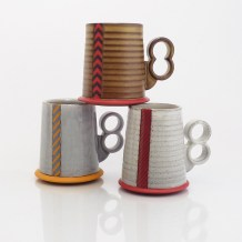 "Eric Van Eimeren, ""Striped Hovercraft mugs"""